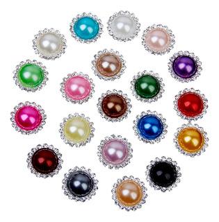 20pcs Cristal Mixto Color Faux Perla Botón 20 Mm Flatback E