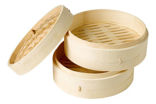 Vaporera Bambú 2 Pisos 18 Cm Comida Oriental Nikuman