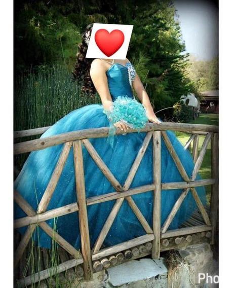 Vestido De Xv Color Azul Jade