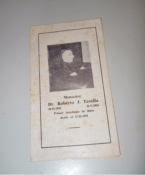 Antigua Estampa Del 1ºarzobispo De Salta Dr. Roberto Tavella