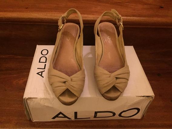 Zapatos Beige Aldo Talle 35 Taco Chino De 6 Cm