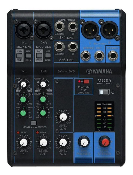 Mesa De Som Yamaha Mg06 6 Canais Mixer