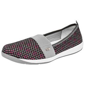 Zapatos Confort Flats Flexi Dama Textil Gris 81248 Dtt