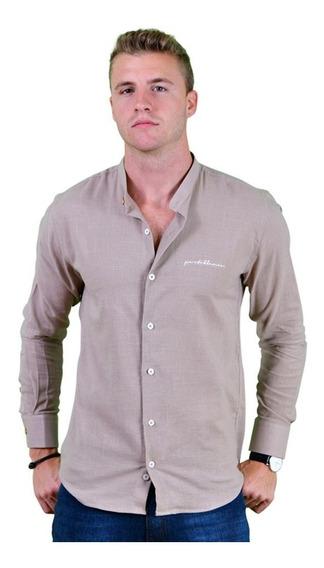 Camisa Porto Blanco Caballero Cuello Mao Lino Beige E-728