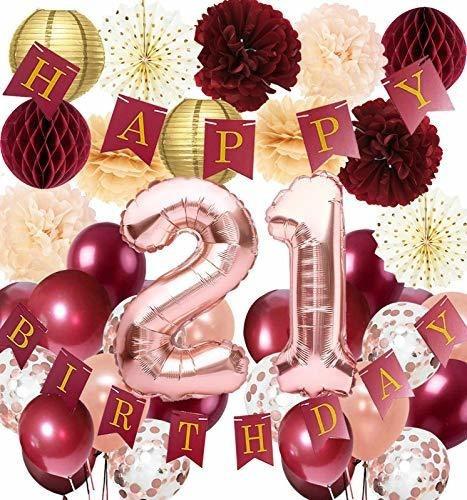 Decoraciones De 21 Cumpleaños Para Mujer, Rosa Dorado, Borgo
