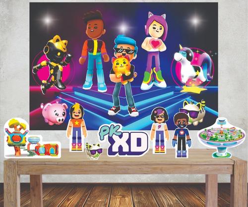 Imagem 1 de 4 de Kit Festa Completo Painel Banner + Displays De Mesa Pkxd