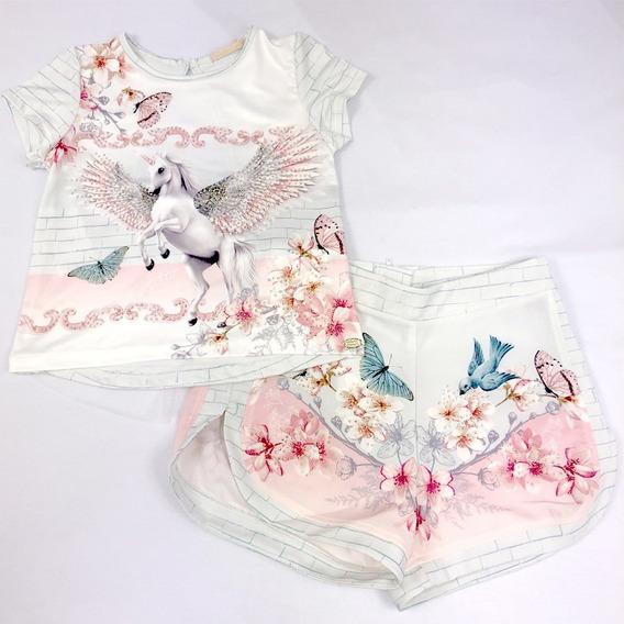 Conjunto Shorts E Blusa Ludic Unicórnio Petit Cherie