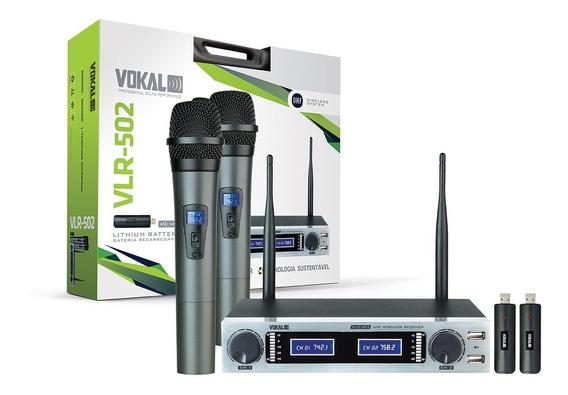 Microfone Sem Fio Vokal Vlr502 Com 2 Baterias Extras Brinde
