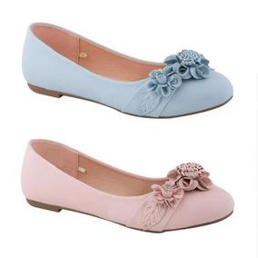 2 Pares De Balerinas Casual De Piso Pink 7177 Rosas Y Azul