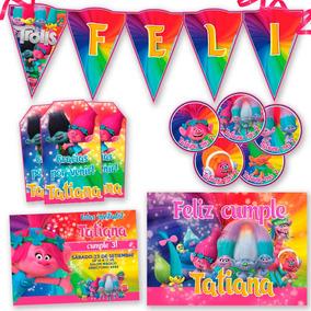 Kit Candy Bar Trolls Invitaciones, Stickers, Banderín Cartel