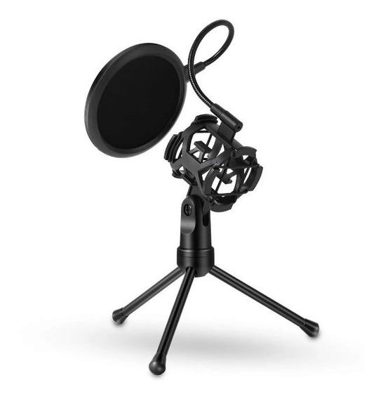 Suporte Tripé Microfone Aranha Nylon Ante Choque Pop Filter