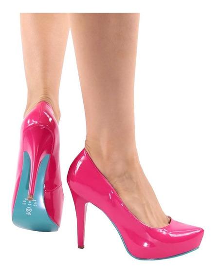 Scarpin Meia Pata Salto Alto Fino Pink Verde Piscina + Nf