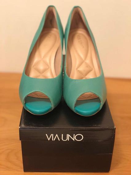 Zapatos Semiabiertos Verdes Nro. 36 Via Uno