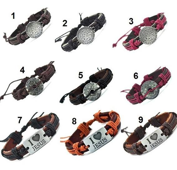 5 Pulseira Bracelete Unissex Tribal Couro Varios Modelos