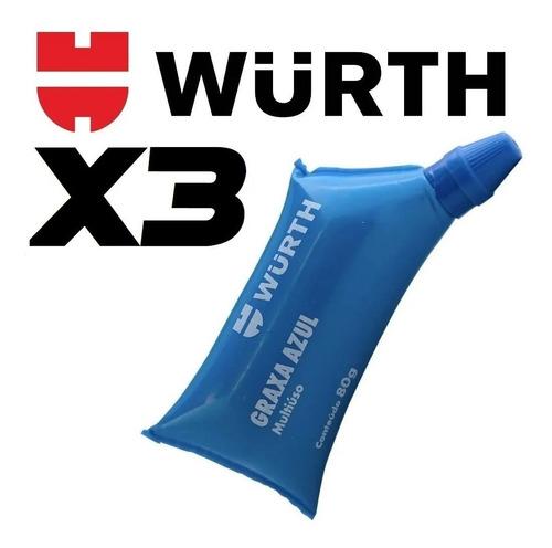 Imagem 1 de 5 de Graxa Azul Wurth Multiuso Rolamentos Automotivo 80g 3und