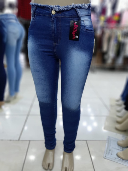 Kit C/2 Calca Feminina Jeans Plus Size Cintura Alta Lycra