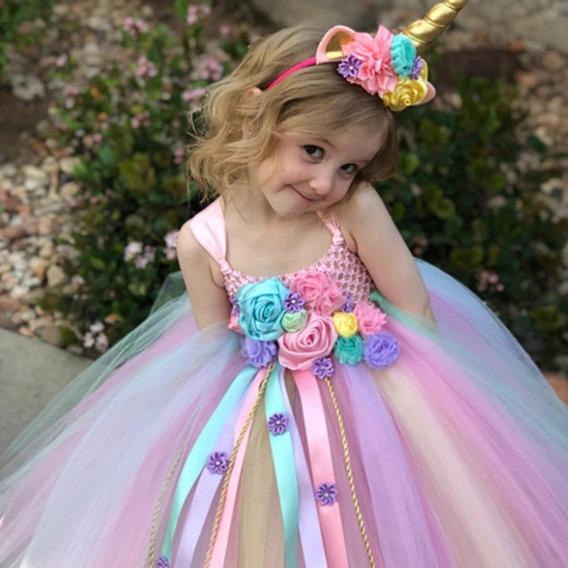 Nuevo Vestido Disfraz Unicornio Para Niña Bebe Oferta