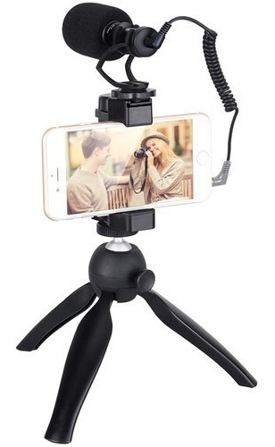 Microfone Shotgun Comica Cvm-vm10-k2 + Tripé P/ Smartphones