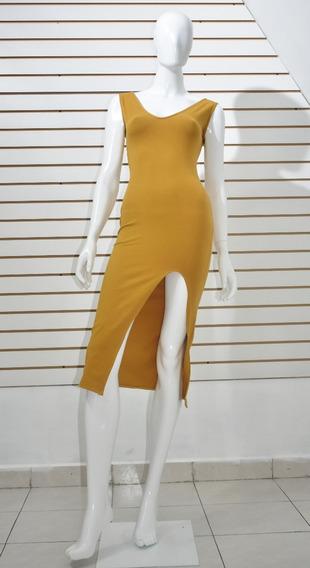 Vestido Color Mostaza Largo Con Apertura En Pierna