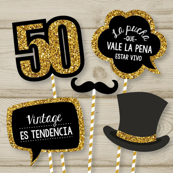 Photo Booth Props Cumple 50 Imprimible Glitter Dorado