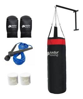 Bolsa Boxeo Guantin Vendas Cadena Soga Soporte Combo Kit Box