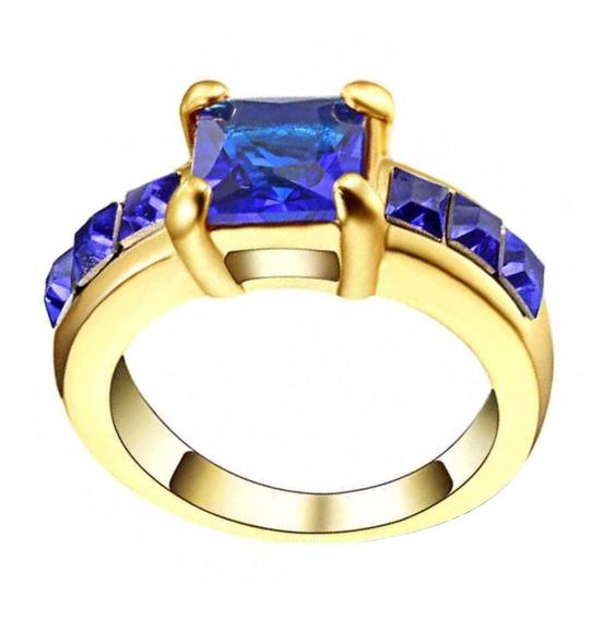 Anel Feminino Solitário Cristal Safira Azul Dia Beleza Mulher Mãe Oferta Modelo Moda Acessório Verão 118