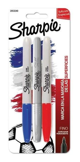 Marcadores Sharpie Fino X 3 Rojo/azul/plata