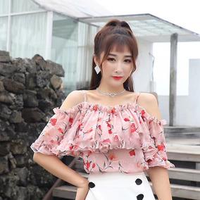 Mulheres Frio Ombro Blusa Casual Floral Impressão Tecido De
