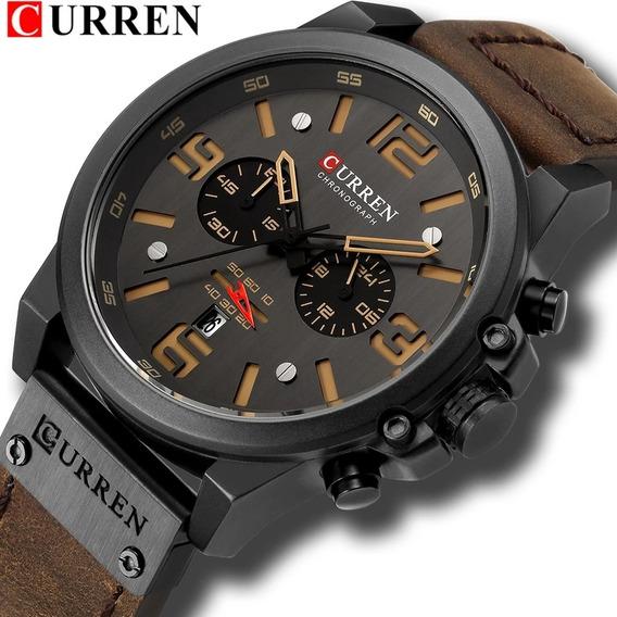 Relógio Esportivo Militar Curren Couro Luxo Mod8314 Promoção