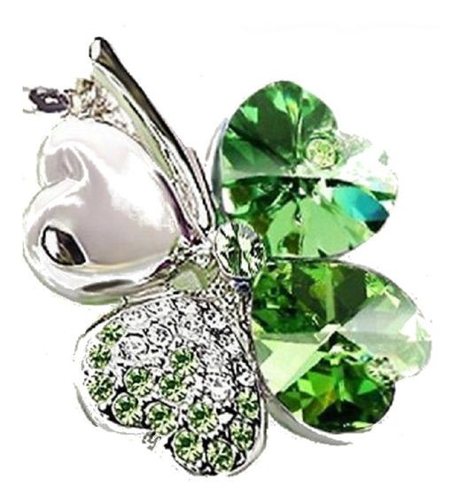 Colar Feminino Trevo Da Sorte Cristal Verde 69781