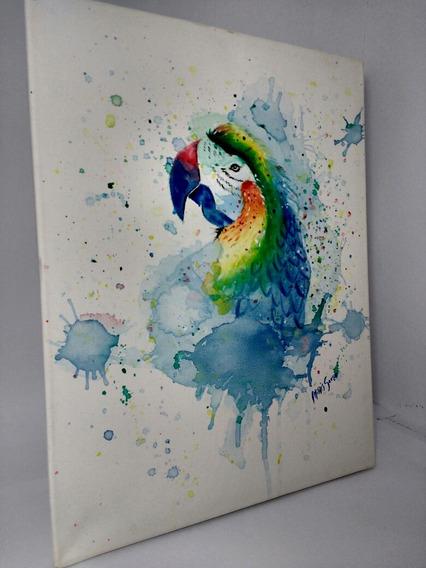 Quadro/tela Arara Em Aquarela Pintada A Mão Telas Decorativa