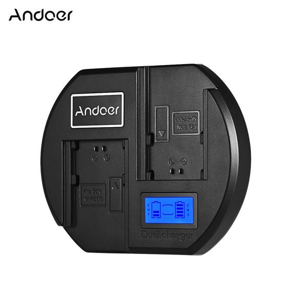 Andoer Carregador Bateria Rápido Dual Channel Câmera Bateria