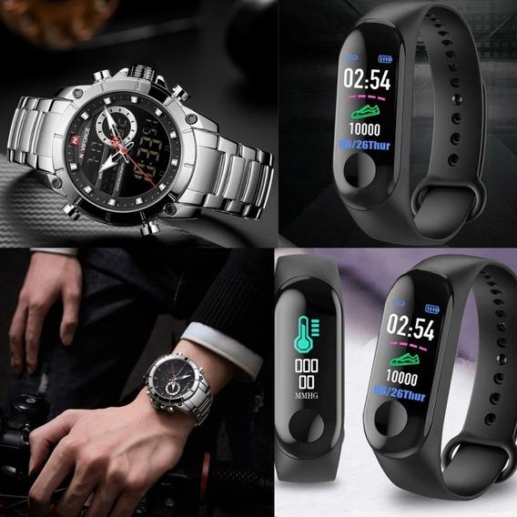 Relógio Masculino Luxo Naviforce + Smartwatch Inteligente M3