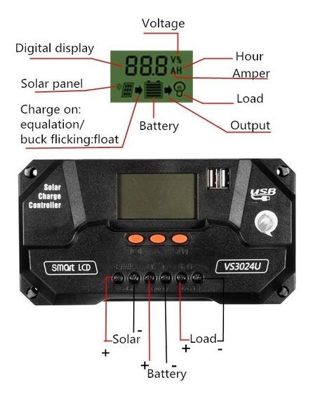 Controlador Carga Solar 80a 12v 24v Lcd Pwm Envio Imediato