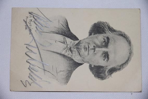 Autógrafo En Postal Violinista Músico Checo Jan Kubelik