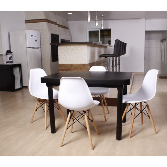 Kit Mesa De Jantar França 110x80 Preta + 04 Cadeiras Eiffel
