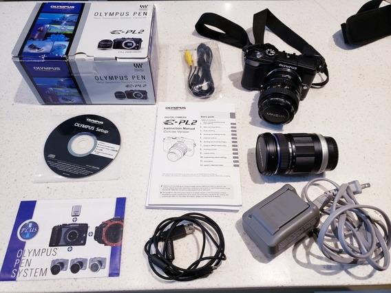 Kit Câmera Maquina Fotográfica Olympus E-pl2 2 Lentes Trocas