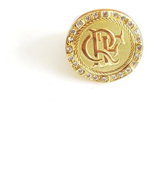 Anel Flamengo Crf Banhado A Ouro 18k Luxo Com Pedras