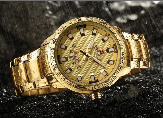 Relógio Naviforce Nf9090 Dourado Luxo Calendário 3 Atm