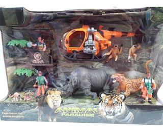 Set De Animales Selva Y Muñecos Con Vehiculos Escenario Edu