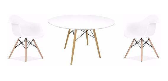 Kit Jogo Mesa Jantar Redonda Eiffel + 4 Cadeiras Com Braços