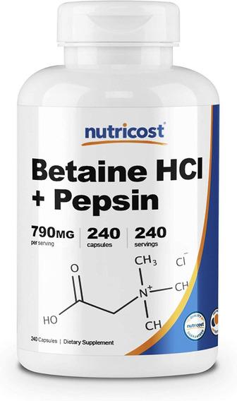 B9 Betaína Hcl Pepsina Y Genciana Amarga 240 Capsulas Eg Eg