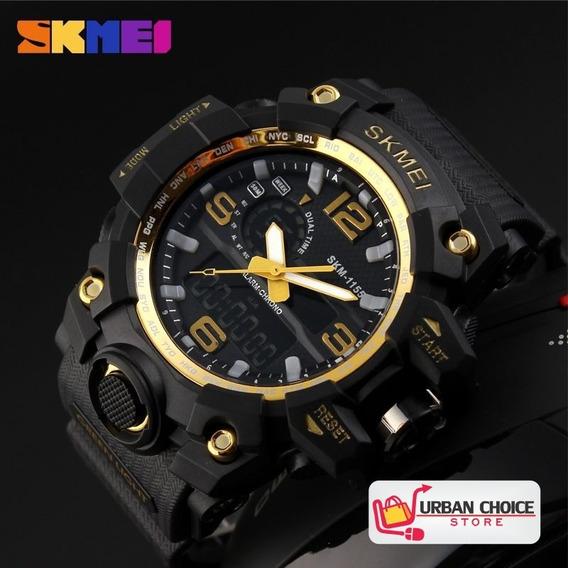 Reloj Deportivo Skmei 1155 Gold Analogico Y Digital