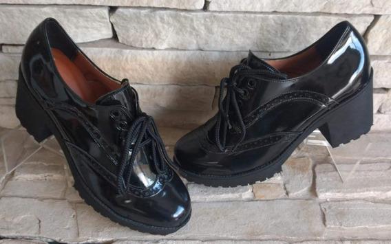 Sapato Bota Feminino Plataforma Oxford Salto Grosso Coturno