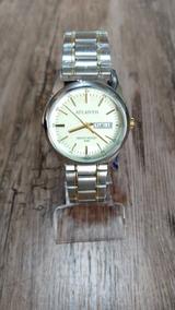Relógio Atlantis Masculino Prata Com Calendário Original