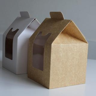 Caja De Cartón Con Visor Tipo Casita