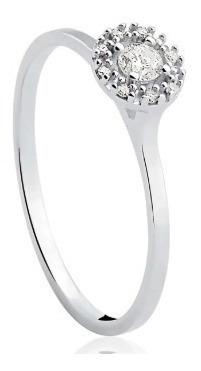 Anel Solitário Ouro Branco 18k E 12,6 Pontos De Diamantes