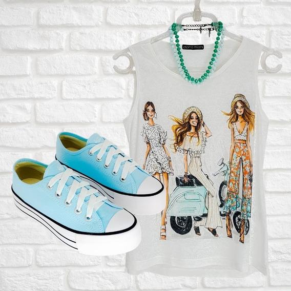 Kit Tenis Casual Plataforma St0778 E Camiseta T-shirt Regata
