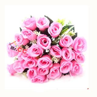 Buquê Galho Rosas C/24 Flores Artificial Arranjo Casamento
