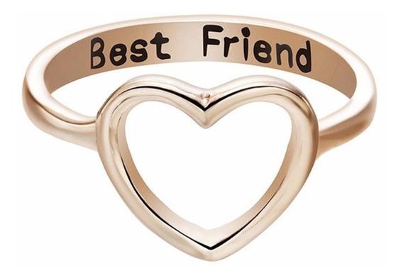 5 Anel Coração Amor Best Friend Melhor Amigo Banhado A Ouro